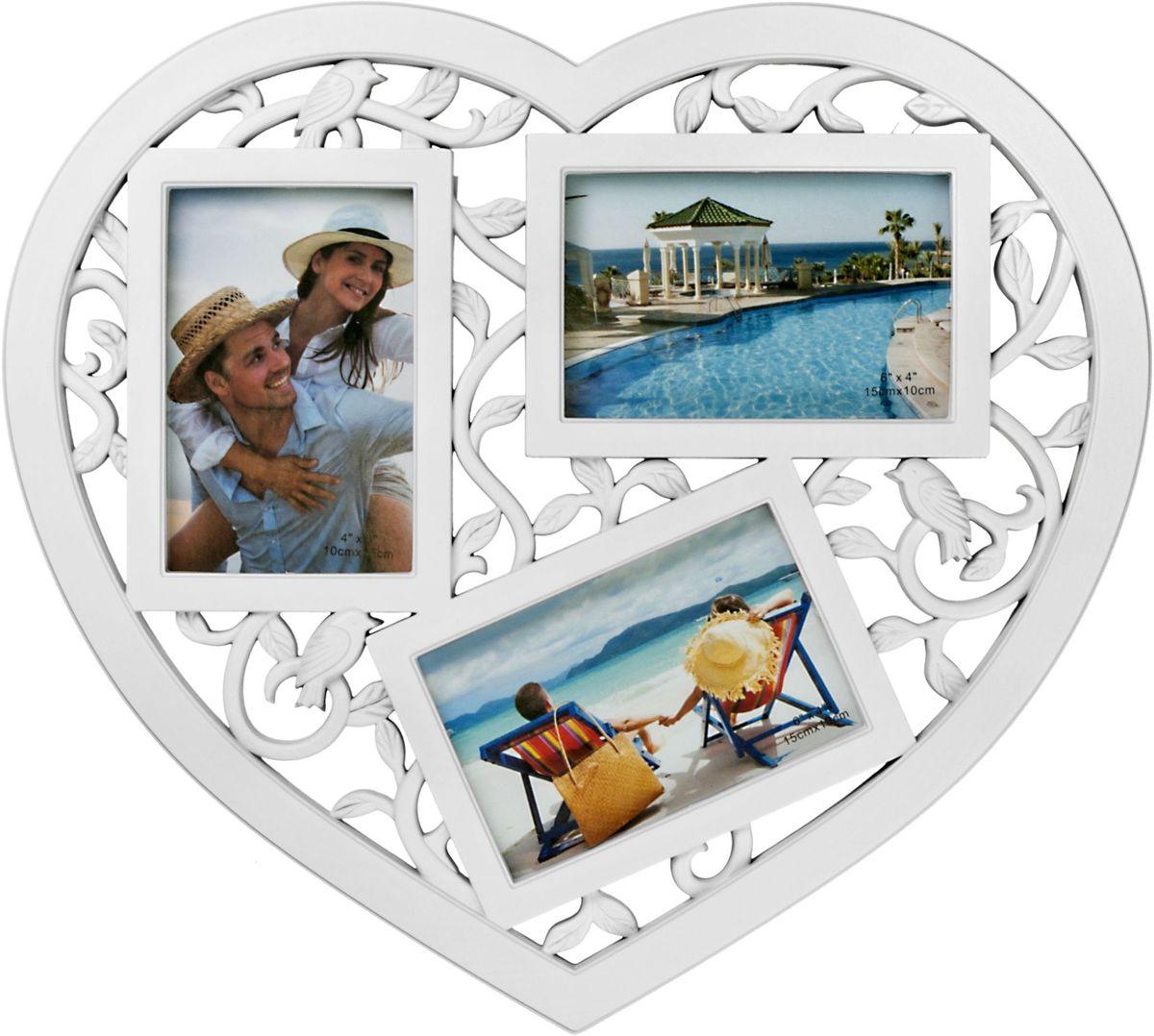 Коллаж Platinum Сердце, цвет: белый, 3 фоторамки. BIN-1123678BIN-1123678-White-БелыйПластиковый коллаж с 3 фото 10х15 см.