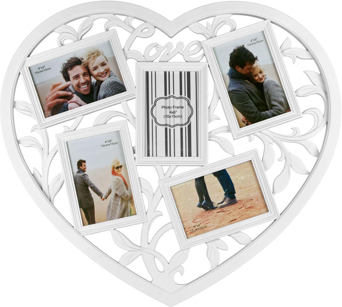 Коллаж Platinum Сердце, цвет: белый, 5 фоторамок. BIN-1124066BIN-1124066-White-БелыйПластиковый коллаж с 5 фото 10х15 см.