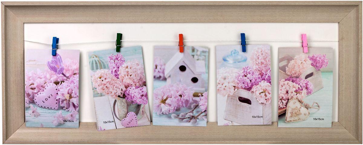 Коллаж Platinum, цвет: бежевый, на прищепках, 5 фото. BIN-521786-5BIN-521786-5, 5 фото на прищепкахПластиковый коллаж с прищепками для 5 фото 10х15 см.