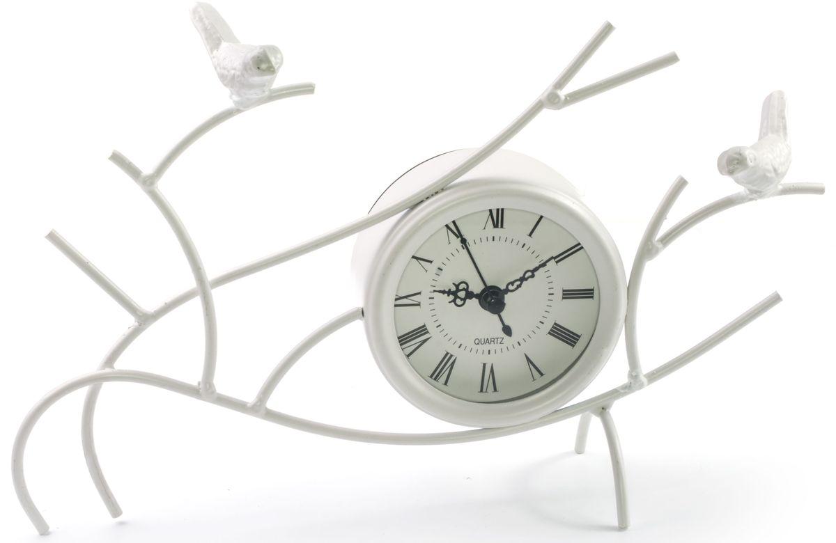Часы настольные Miralight Птицы на ветках, цвет: белый. ML-1366ML-1366 White Часы настольные белые Птицы на ветках