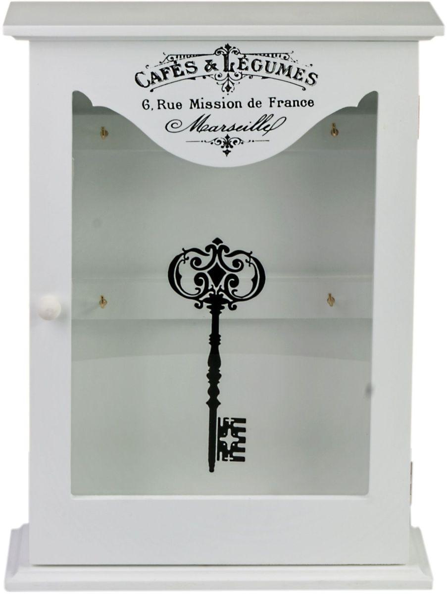 Ключница Miralight, цвет: белый, с дверцей. ML-4732ML-4732 Ключница белая со стеклянной дверцей