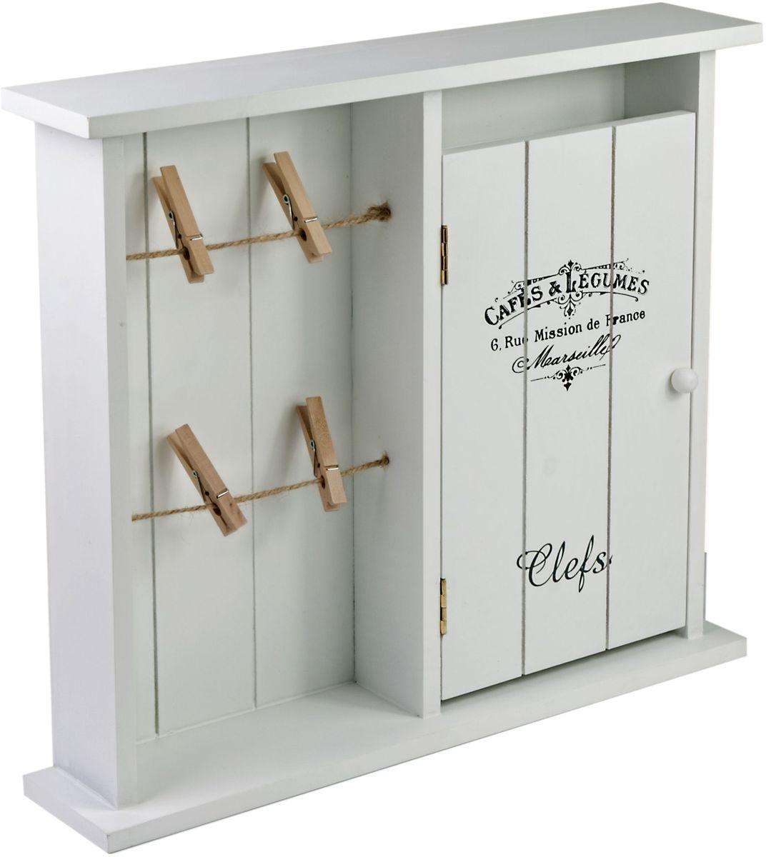 Ключница Miralight, цвет: белый, с дверцей и подвесами на прищепках. ML-4739ML-4739 Ключница белая с дверцей и подвесами на прищепках