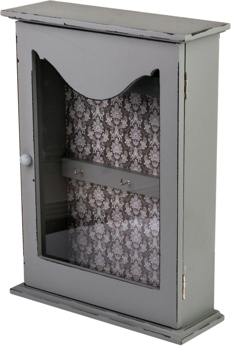 Ключница Miralight, цвет: светло-серый, с дверцей. ML-4783ML-4783 Ключница со стеклянной дверцей
