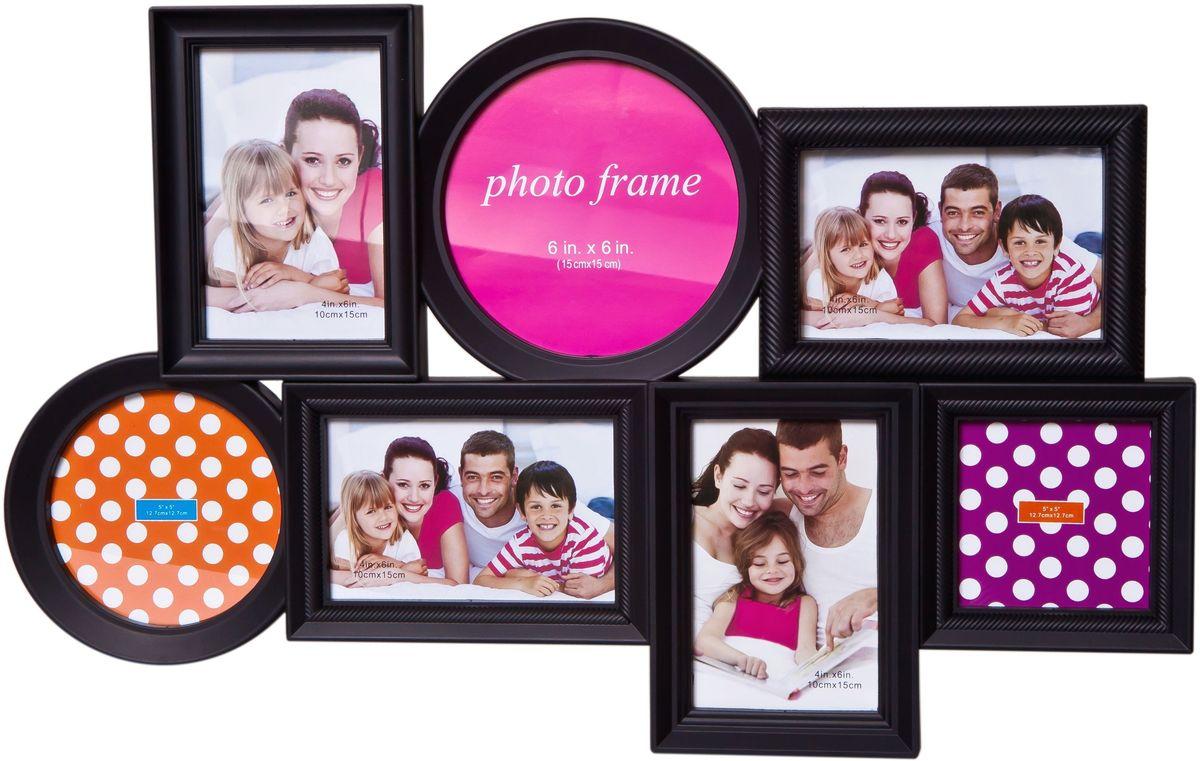 Фоторамка Platinum, цвет: черный, на 7 фотоPLATINUM BH-1302-Black-ЧёрныйФоторамка Platinum - прекрасный способ красиво оформить ваши фотографии. Фоторамка выполнена из пластика и защищена стеклом. Фоторамка-коллаж представляет собой семь фоторамок для фото разного размера оригинально соединенных между собой. Такая фоторамка поможет сохранить в памяти самые яркие моменты вашей жизни, а стильный дизайн сделает ее прекрасным дополнением интерьера комнаты. Мультирамка снабжена петлями для подвешивания в вертикальном и горизонтальном положениях. Фоторамка подходит для фотографий 15 х 15 см, 10 х 15 см, 13 х 13 см и 10 х 10 см. Общий размер фоторамки: 56 х 36 см.