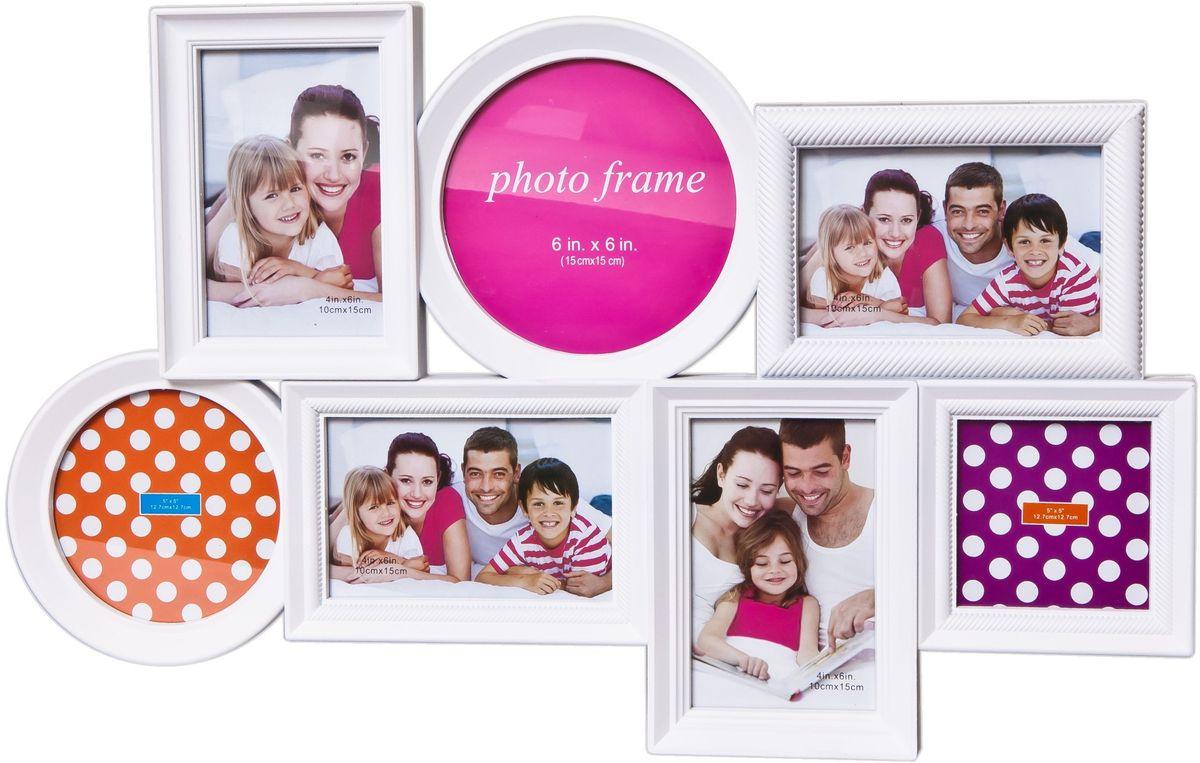 Фоторамка Platinum, цвет: белый, на 7 фотоPLATINUM BH-1302-White-БелыйФоторамка Platinum - прекрасный способ красиво оформить ваши фотографии. Фоторамка выполнена из пластика и защищена стеклом. Фоторамка-коллаж представляет собой семь фоторамок для фото разного размера оригинально соединенных между собой. Такая фоторамка поможет сохранить в памяти самые яркие моменты вашей жизни, а стильный дизайн сделает ее прекрасным дополнением интерьера комнаты. Мультирамка снабжена петлями для подвешивания в вертикальном и горизонтальном положениях. Фоторамка подходит для фотографий 15 х 15 см, 10 х 15 см, 13 х 13 см и 10 х 10 см. Общий размер фоторамки: 56 х 36 см.