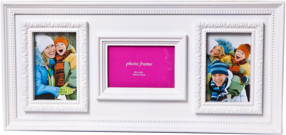Фоторамка Platinum, цвет: белый, на 3 фотоPLATINUM BH-1303-White-БелыйФоторамка Platinum - прекрасный способ красиво оформить ваши фотографии. Фоторамка выполнена из пластика и защищена стеклом. Фоторамка-коллаж оригинального дизайна представляет собой фоторамку на три фото разного размера. Такая фоторамка поможет сохранить в памяти самые яркие моменты вашей жизни, а стильный дизайн сделает ее прекрасным дополнением интерьера комнаты. Фоторамка подходит для фото следующих размеров: 2 фото 10 х 15 см и 1фото 15 х 10 см. Общий размер фоторамки: 56 х 26 см.