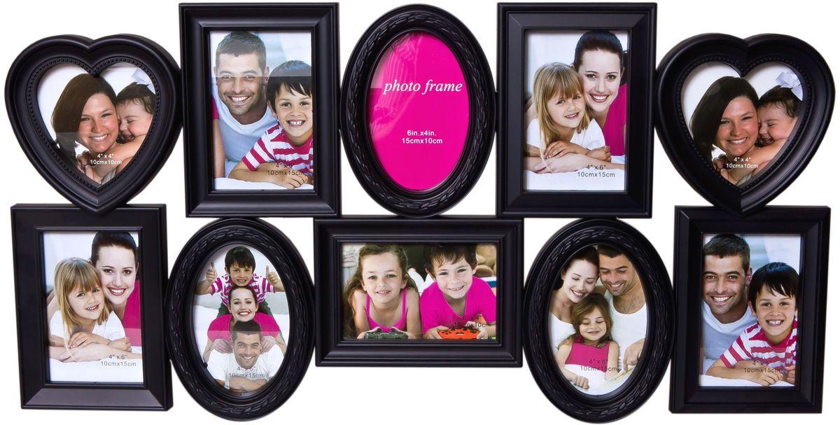 Фоторамка Platinum, цвет: черный, на 10 фотоPLATINUM BH-1310-Black-ЧёрныйФоторамка Platinum - прекрасный способ красиво оформить ваши фотографии. Фоторамка выполнена из пластика и защищена стеклом. Фоторамка-коллаж представляет собой десять фоторамок для фото разного размера оригинально соединенных между собой. Такая фоторамка поможет сохранить в памяти самые яркие моменты вашей жизни, а стильный дизайн сделает ее прекрасным дополнением интерьера комнаты. Фоторамка подходит для фото следующих размеров: 2 фото 10 х 10 см и 8 фото 10 х 15 см. Общий размер фоторамки: 74 х 37 см.