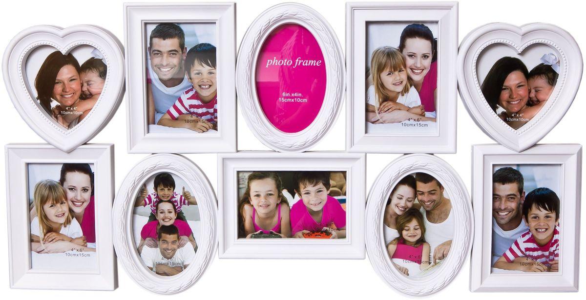 Коллаж Platinum, цвет: белый, 10 фоторамок. BH-1310PLATINUM BH-1310-White-БелыйПластиковый коллаж с фото следующих размеров:2 фото 10х10 см,8 фото 10х15 см.
