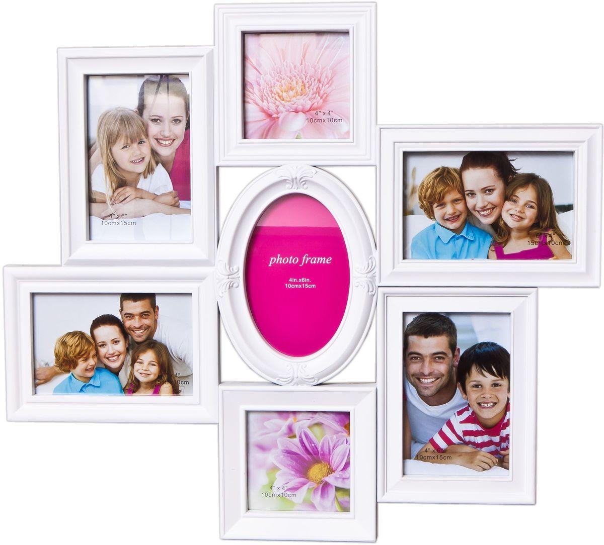 Коллаж Platinum, цвет: белый, 7 фоторамок. BH-1313PLATINUM BH-1313-White-БелыйПластиковый коллаж с фото следующих размеров: 2 фото 10х10 см,5 фото 10х15 см.