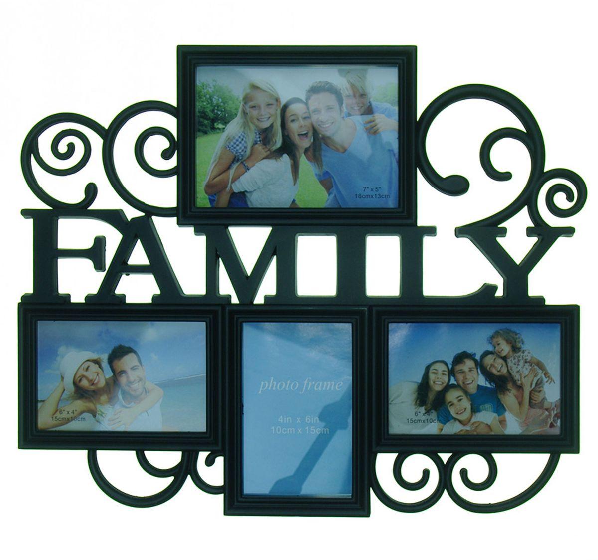 Фоторамка Platinum Family, цвет: белый, на 4 фото. BH-1314PLATINUM BH-1314-Black-ЧёрныйФоторамка Platinum Family - прекрасный способ красиво оформить ваши фотографии. Фоторамка выполнена из пластика и защищена стеклом. Фоторамка-коллаж представляет собой четыре фоторамки для фото разного размера оригинально соединенных между собой. Такая фоторамка поможет сохранить в памяти самые яркие моменты вашей жизни, а стильный дизайн сделает ее прекрасным дополнением интерьера комнаты. Фоторамка подходит для 2 фото 15 х 10 см, 1 фото 10 х 15 см и 1 фото 18 х 13 см. Общий размер фоторамки: 47 х 38 см.