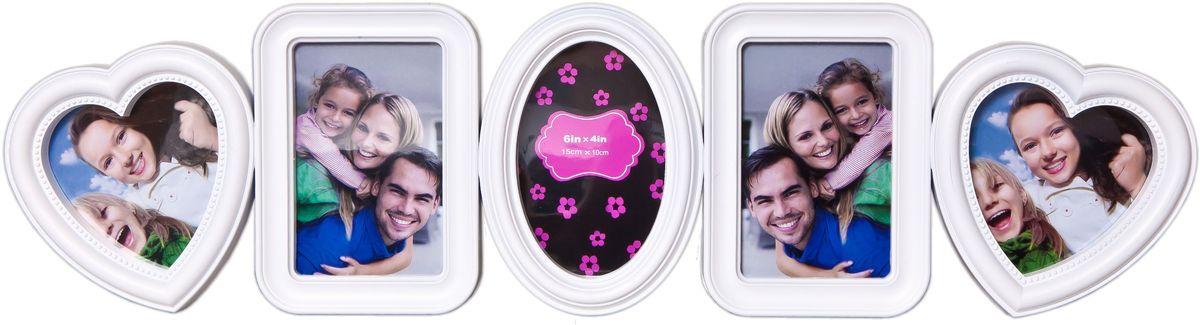Коллаж Platinum, цвет: белый, 5 фоторамок. BH-1315PLATINUM BH-1315-White-БелыйПластиковый коллаж с 2 фото 10х10 см, 3 фото 10х15 см.