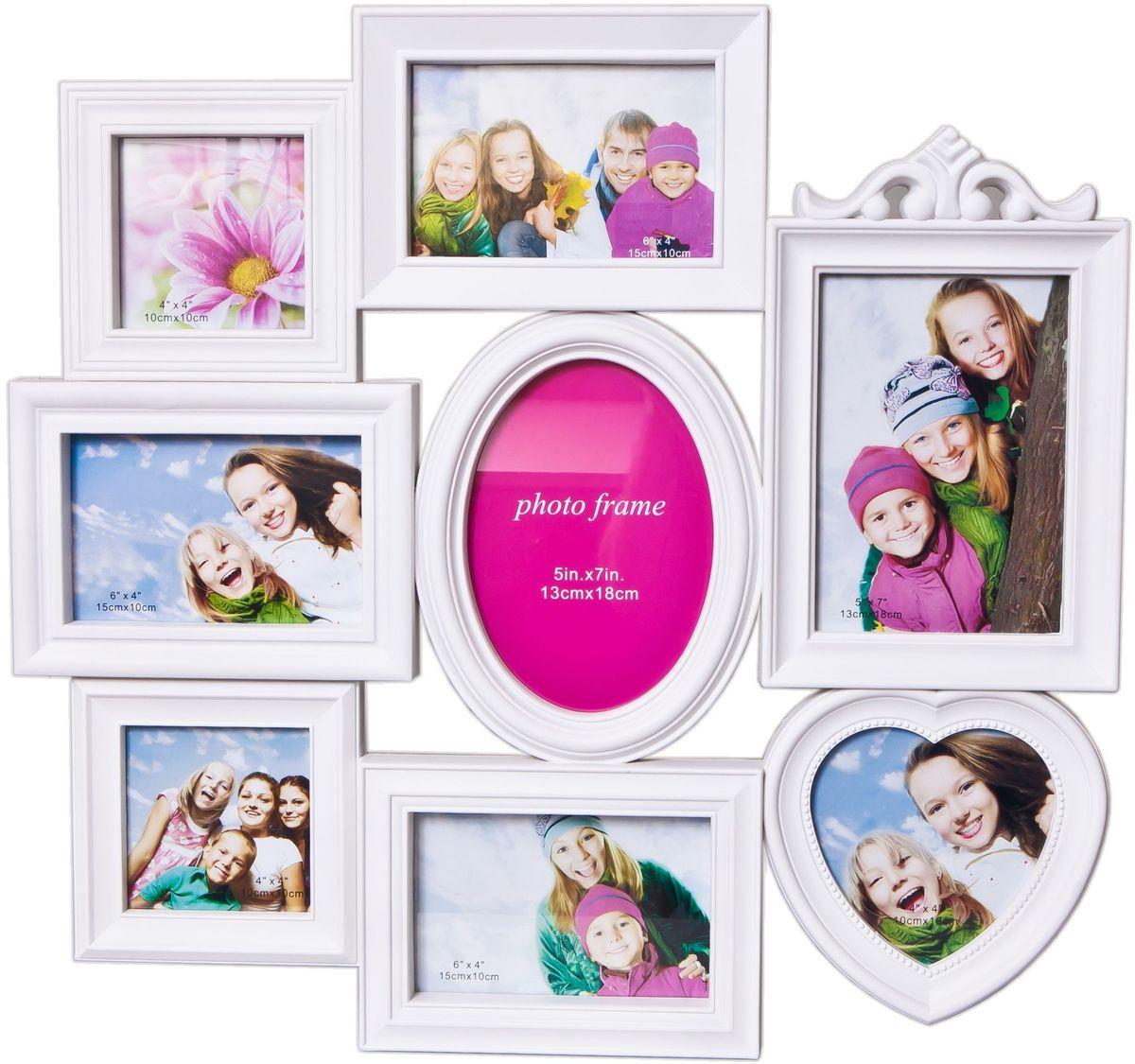 Фоторамка Platinum, цвет: белый, на 8 фото. BH-1318PLATINUM BH-1318-White-БелыйФоторамка Platinum - прекрасный способ красиво оформить ваши фотографии. Фоторамка выполнена из пластика и защищена стеклом. Фоторамка-коллаж представляет собой восемь фоторамок для фото разного размера оригинально соединенных между собой. Такая фоторамка поможет сохранить в памяти самые яркие моменты вашей жизни, а стильный дизайн сделает ее прекрасным дополнением интерьера комнаты. Фоторамка подходит для 3 фото 10 х 10 см, 3 фото 10 х 15 см и 2 фото 13 х 18 см. Общий размер фоторамки: 51 х 48 см.