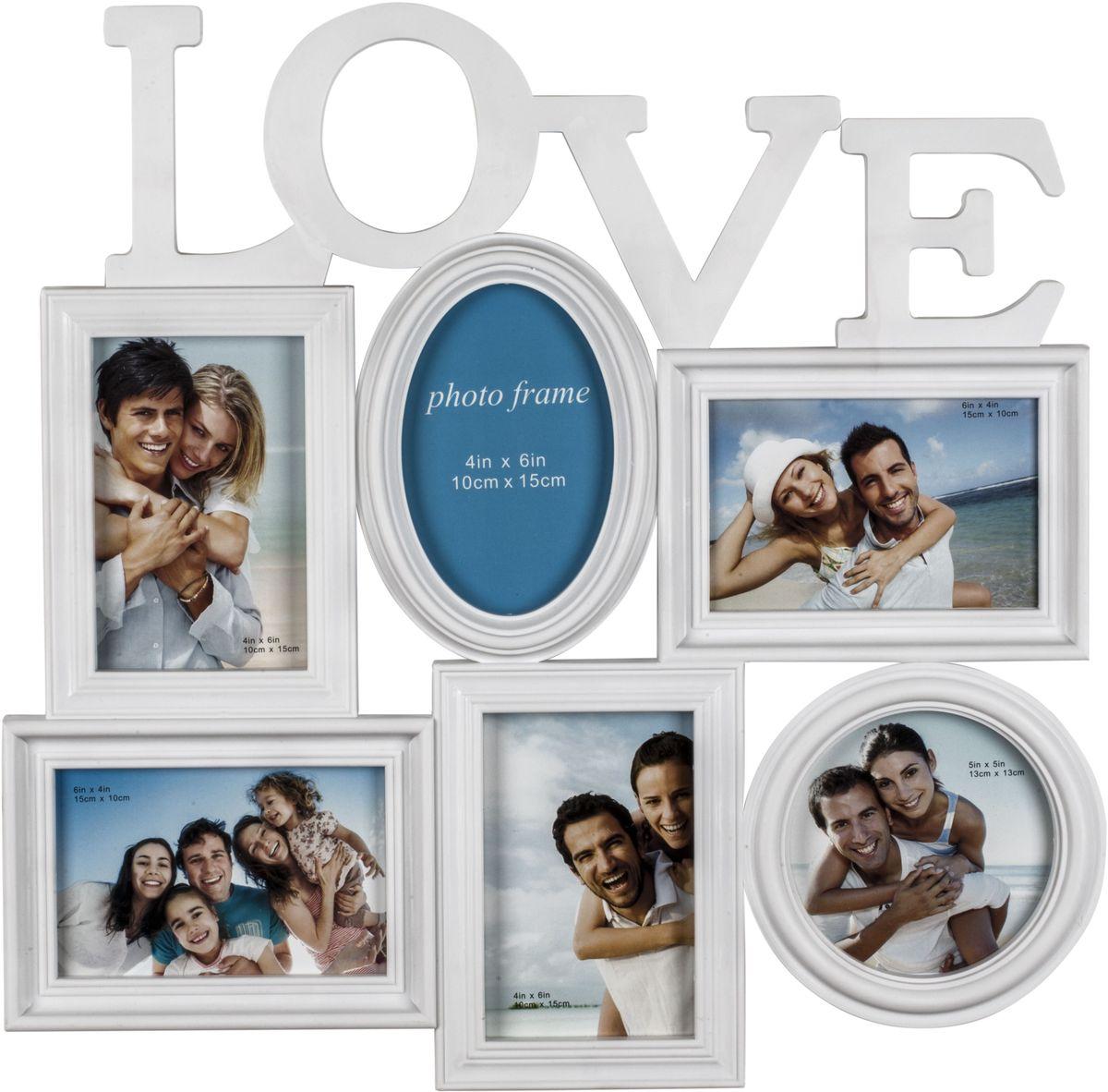 Фоторамка Platinum Love, цвет: белый, на 6 фотоPLATINUM BH-1406-White-БелыйФоторамка Platinum Love - прекрасный способ красиво оформить ваши фотографии. Фоторамка выполнена из пластика и защищена стеклом. Фоторамка-коллаж представляет собой шесть фоторамок для фото разного размера оригинально соединенных между собой. Такая фоторамка поможет сохранить в памяти самые яркие моменты вашей жизни, а стильный дизайн сделает ее прекрасным дополнением интерьера комнаты. Фоторамка подходит для 5 фото 10 х 15 см и 1 фото 13 х 13 см. Общий размер фоторамки: 46 х 47 см.