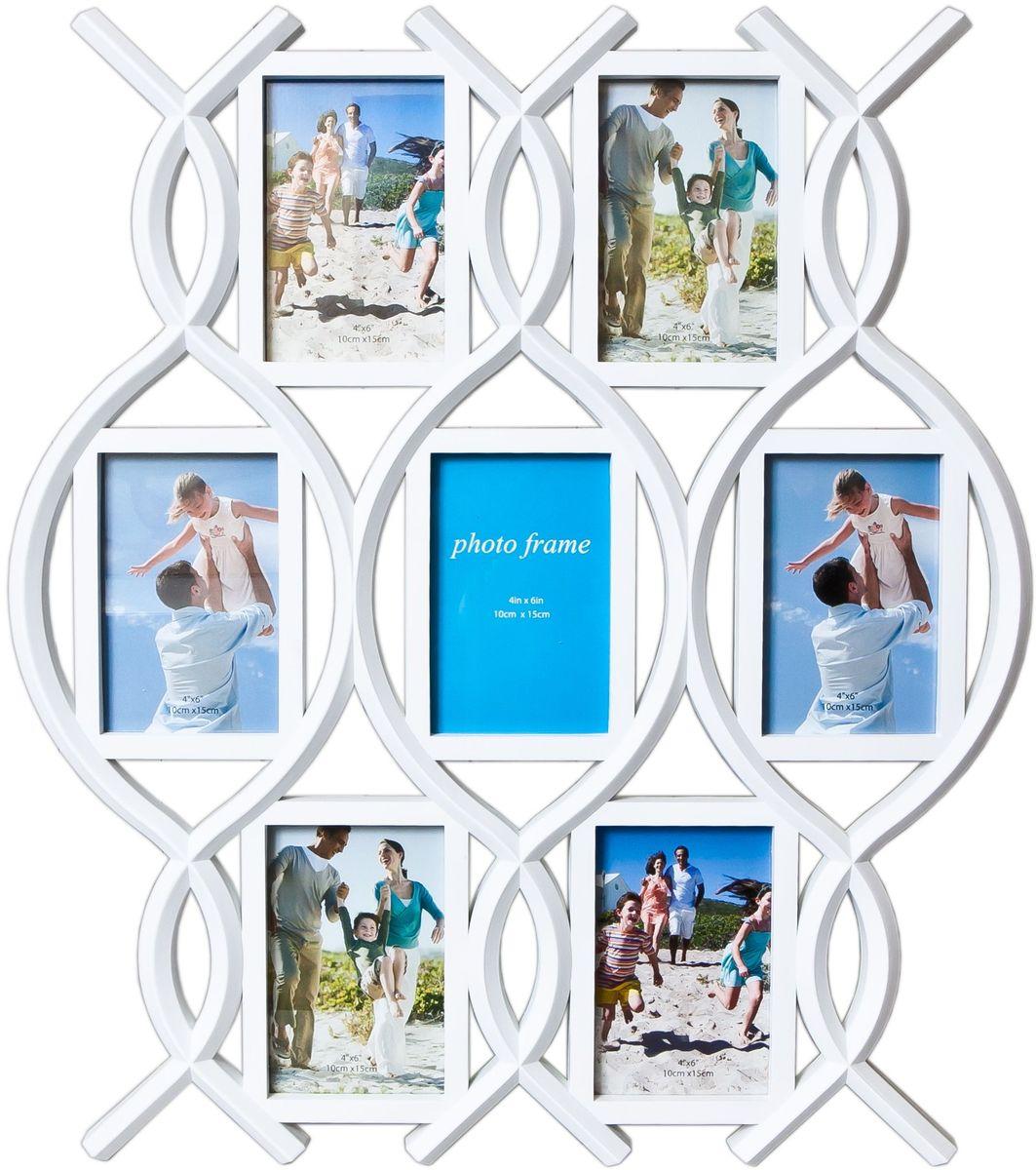 Фоторамка Platinum, цвет: белый, на 7 фото 10 х 15 см. BH-1407PLATINUM BH-1407-White-БелыйФоторамка Platinum - прекрасный способ красиво оформить ваши фотографии. Фоторамка выполнена из пластика и защищена стеклом. Фоторамка-коллаж представляет собой семь фоторамок для фото одного размера оригинально соединенных между собой. Такая фоторамка поможет сохранить в памяти самые яркие моменты вашей жизни, а стильный дизайн сделает ее прекрасным дополнением интерьера комнаты. Фоторамка подходит для фотографий 10 х 15 см. Общий размер фоторамки: 51 х 58 см.