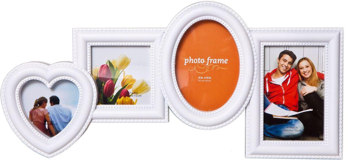 Коллаж Platinum, цвет: белый, 4 фоторамки. BH-2302PLATINUM BH-2302-White-БелыйПластиковый коллаж с 2 фото 10х15 см, 2 фото 10х10 см.