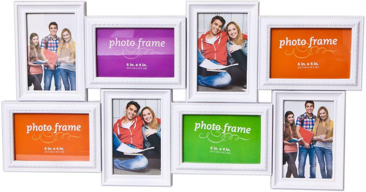 Коллаж Platinum, цвет: белый, 8 фоторамок. BH-2308PLATINUM BH-2308-White-БелыйПластиковый коллаж с 4 фото 10х15 см, 4 фото 15х10 см.