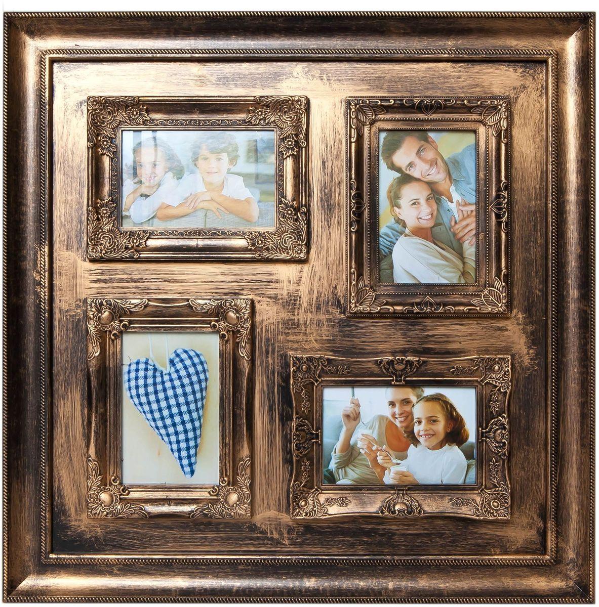 Фоторамка Platinum, цвет: золотистый, на 4 фото 10 х 15 смPLATINUM BIN-112134 Золотой (Gold)Фоторамка Platinum - прекрасный способ красиво оформить ваши фотографии. Фоторамка выполнена из пластика и защищена стеклом. Фоторамка-коллаж оригинального дизайна представляет собой фоторамку на четыре фото одного размера. Такая фоторамка поможет сохранить в памяти самые яркие моменты вашей жизни, а стильный дизайн сделает ее прекрасным дополнением интерьера комнаты. Фоторамка подходит для фотографий 10 х 15 см. Общий размер фоторамки: 53 х 53 см.