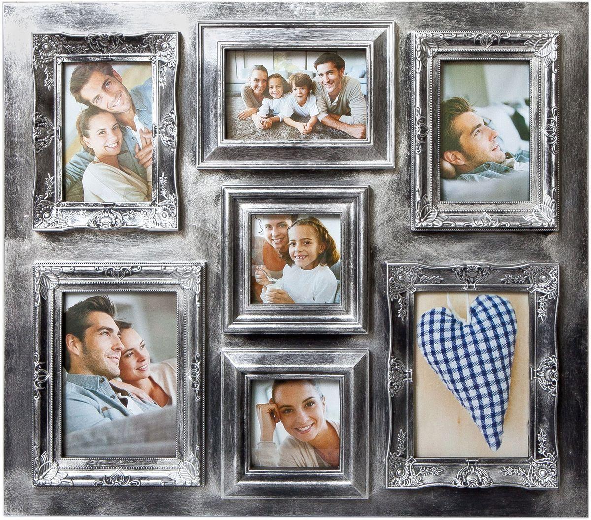 Фоторамка Platinum, цвет: серебристый, на 7 фотоPLATINUM BIN-112137 Серебряный (Silver)Фоторамка Platinum - прекрасный способ красиво оформить ваши фотографии. Фоторамка выполнена из пластика и защищена стеклом. Фоторамка-коллаж оригинального дизайна представляет собой фоторамку на семь фото разного размера. Такая фоторамка поможет сохранить в памяти самые яркие моменты вашей жизни, а стильный дизайн сделает ее прекрасным дополнением интерьера комнаты. Фоторамка подходит для 5 фото 10 х 15 см и 2 фото 10 х 10 см. Общий размер фоторамки: 58 х 51 см.