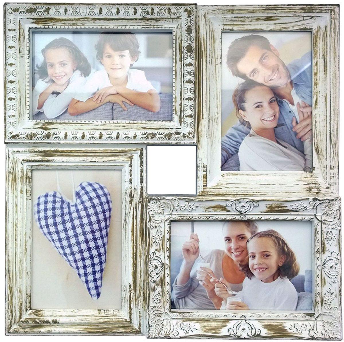 Коллаж Platinum, цвет: античный белый, 4 фоторамки. BIN-112181PLATINUM BIN-112181 Античный Белый (Antique white)Пластиковый коллаж с 4 фото 10х15.