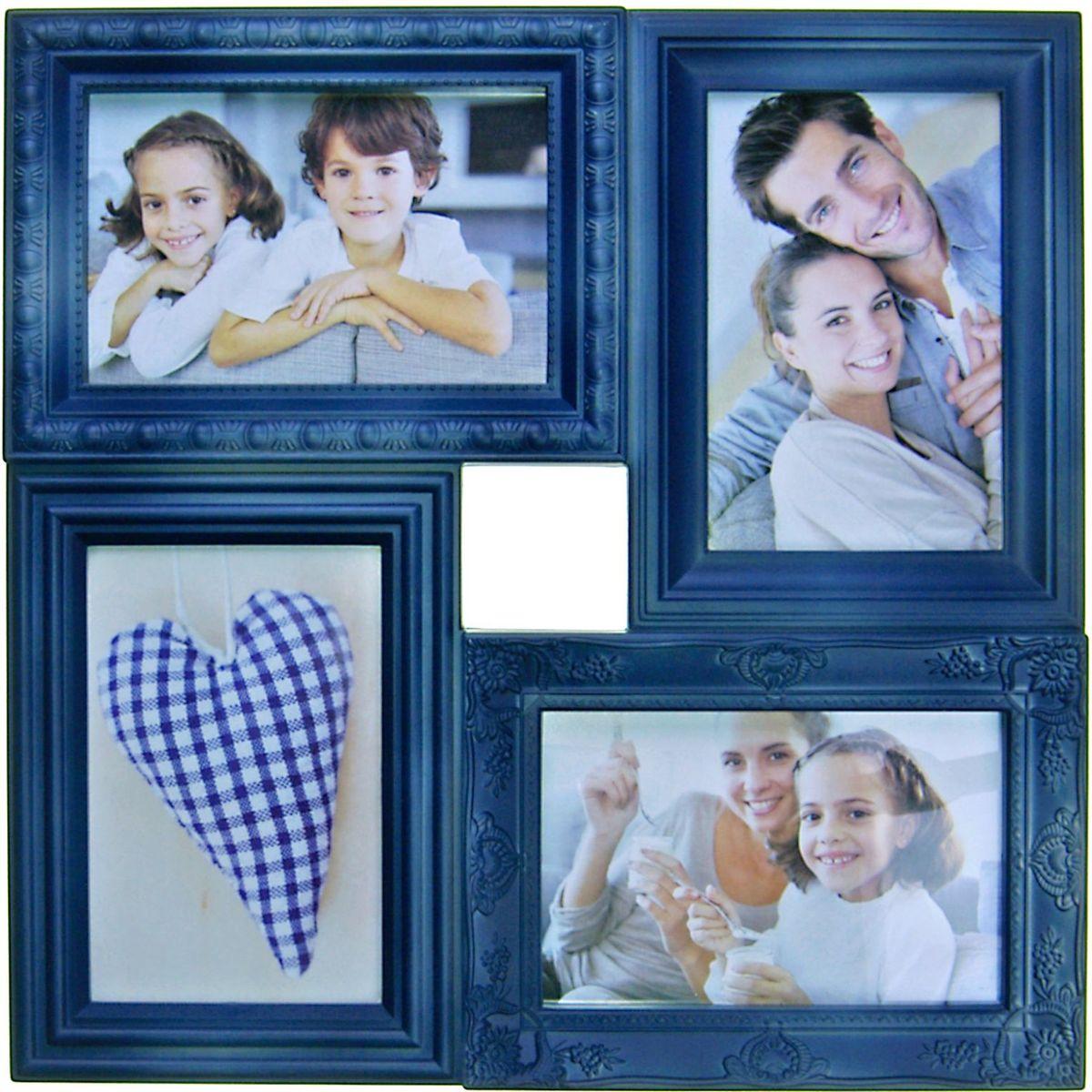 Коллаж Platinum, цвет: джинсовый, 4 фоторамки. BIN-112181PLATINUM BIN-112181 Джинсовый ((Blue Jeans)Пластиковый коллаж с 4 фото 10х15.