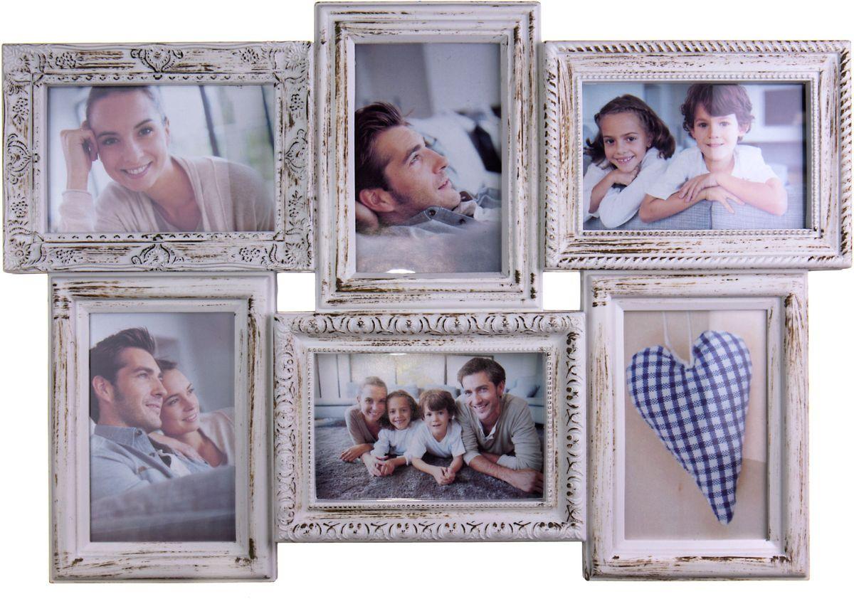 Коллаж Platinum, цвет: античный белый, 6 фоторамок. BIN-112182PLATINUM BIN-112182 Античный Белый (Antique white)Пластиковый коллаж с 6 фото 10х15.