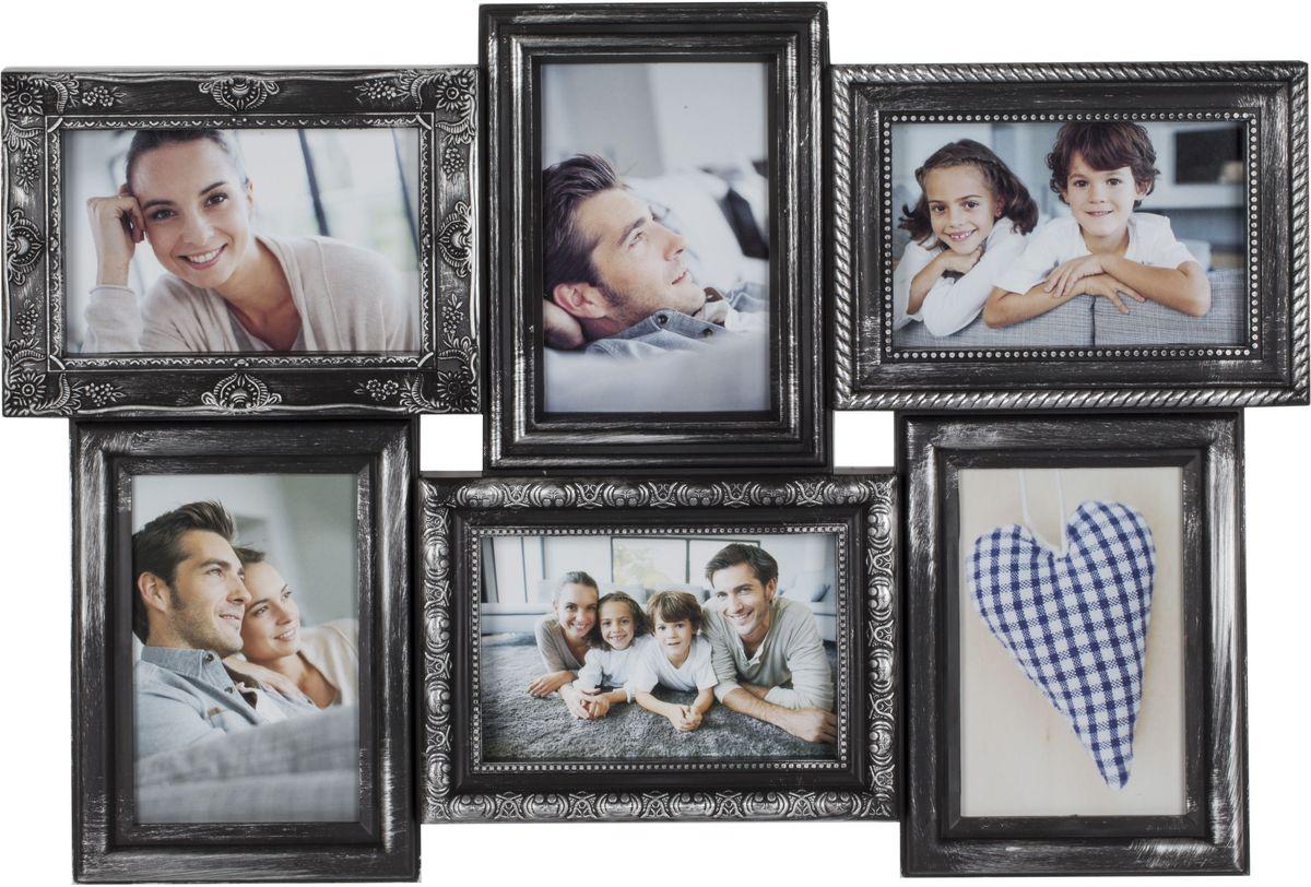 Фоторамка Platinum, цвет: черный, серебристый, на 6 фото 10 х 15 см. BIN-112182PLATINUM BIN-112182 Чёрный с серебром (Black with silver)Фоторамка Platinum - прекрасный способ красиво оформить ваши фотографии. Фоторамка выполнена из пластика и защищена стеклом. Фоторамка-коллаж представляет собой шесть фоторамок для фото одного размера оригинально соединенных между собой. Такая фоторамка поможет сохранить в памяти самые яркие моменты вашей жизни, а стильный дизайн сделает ее прекрасным дополнением интерьера комнаты. Фоторамка подходит для фотографий 10 х 15 см. Общий размер фоторамки: 52 х 37 см.