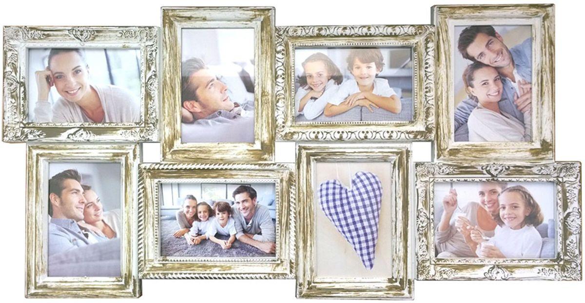 Коллаж Platinum, цвет: античный белый, 8 фоторамок. BIN-112183PLATINUM BIN-112183 Античный Белый (Antique white)Пластиковый коллаж с 8 фото 10х15.