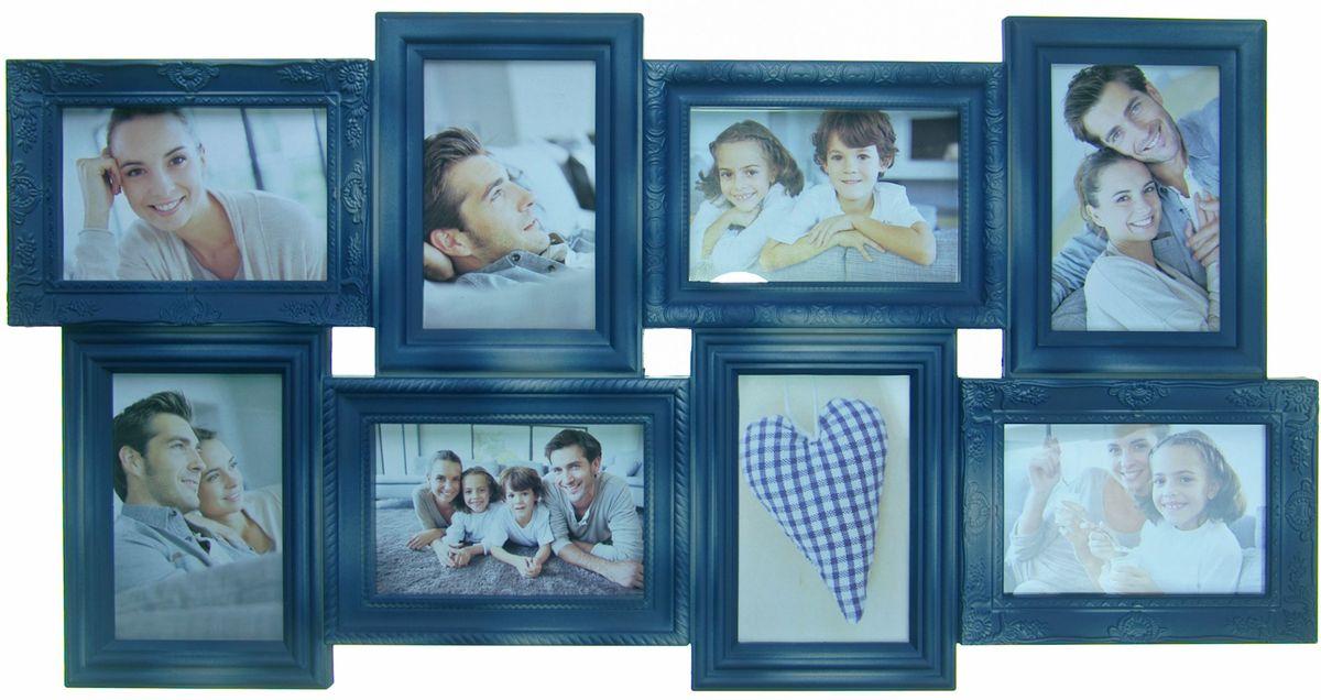 Фоторамка Platinum, цвет: джинсовый, на 8 фото 10 х 15 смPLATINUM BIN-112183 Джинсовый ((Blue Jeans)Фоторамка Platinum - прекрасный способ красиво оформить ваши фотографии. Фоторамка выполнена из пластика и защищена стеклом. Фоторамка-коллаж представляет собой восемь фоторамок для фото одного размера оригинально соединенных между собой. Такая фоторамка поможет сохранить в памяти самые яркие моменты вашей жизни, а стильный дизайн сделает ее прекрасным дополнением интерьера комнаты. Фоторамка подходит для фотографий 10 х 15 см. Общий размер фоторамки: 35 х 68 см.