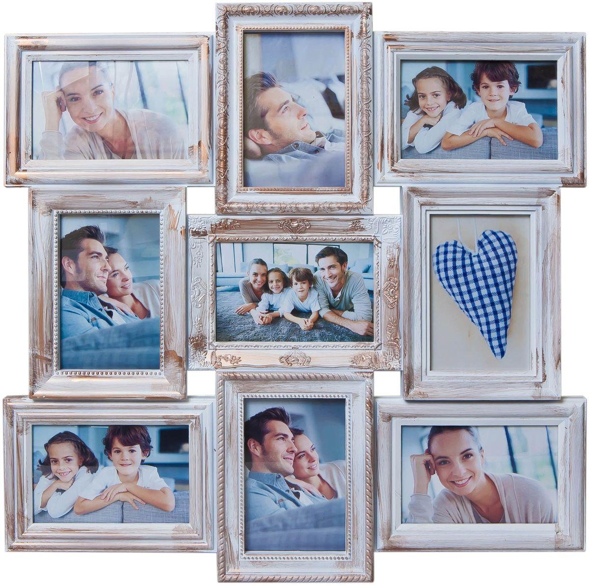 Коллаж Platinum, цвет: белый, золотистый, 9 фоторамок. BIN-112184PLATINUM BIN-112184 Белый с золотом (White with gold)Пластиковый коллаж с 9 фото 10х15.