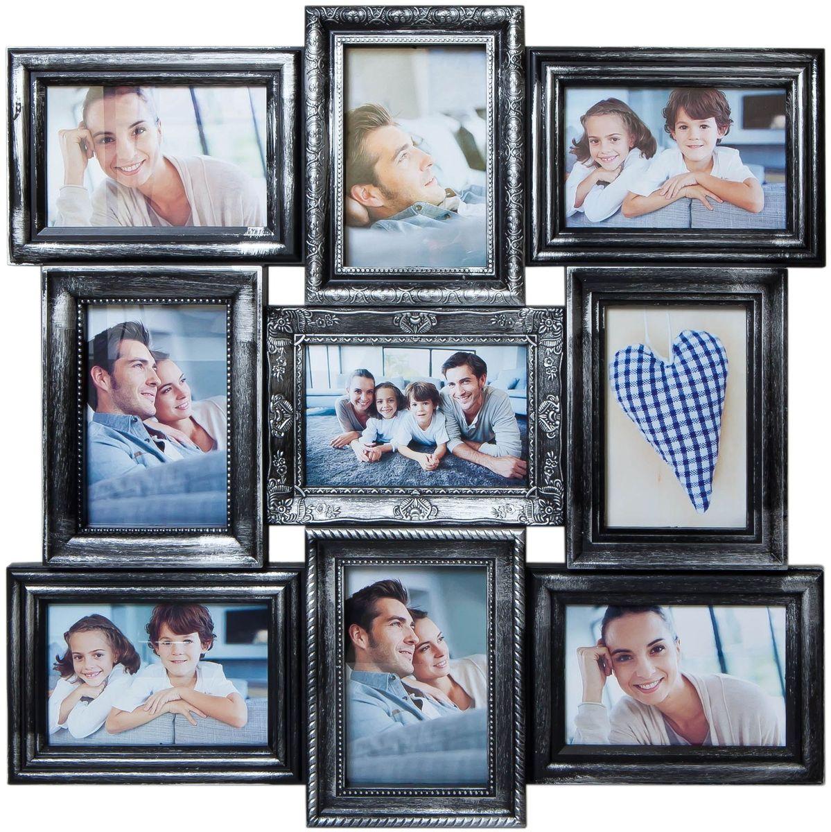 Коллаж Platinum, цвет: черный, серебристый, 9 фоторамок. BIN-112184PLATINUM BIN-112184 Чёрный с серебром (Black with silver)Пластиковый коллаж с 9 фото 10х15.