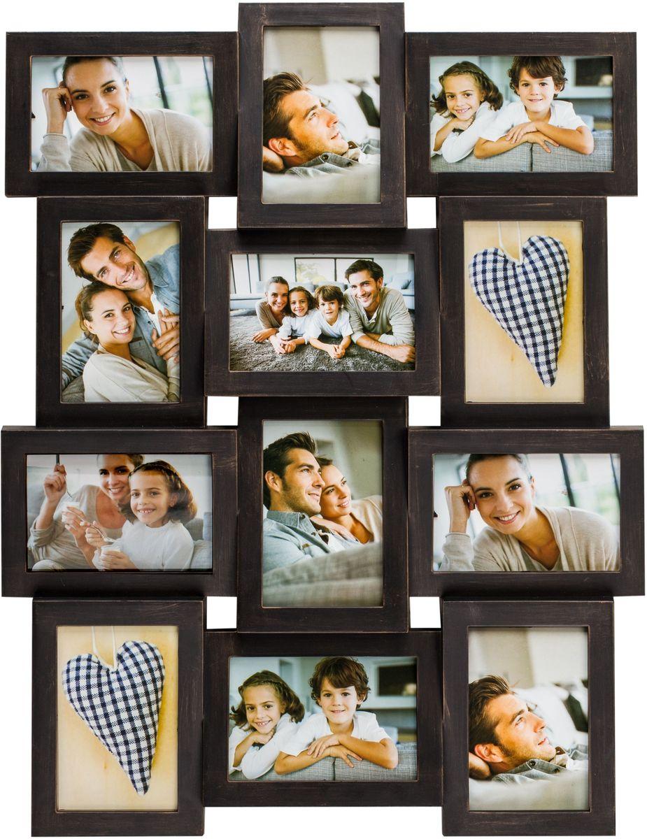 Коллаж Platinum, цвет: антик коричневый, 12 фоторамок. BIN-1122638PLATINUM BIN-1122638 Антик коричневый (Antique brown)Пластиковый коллаж с 12 фото 10х15 см.