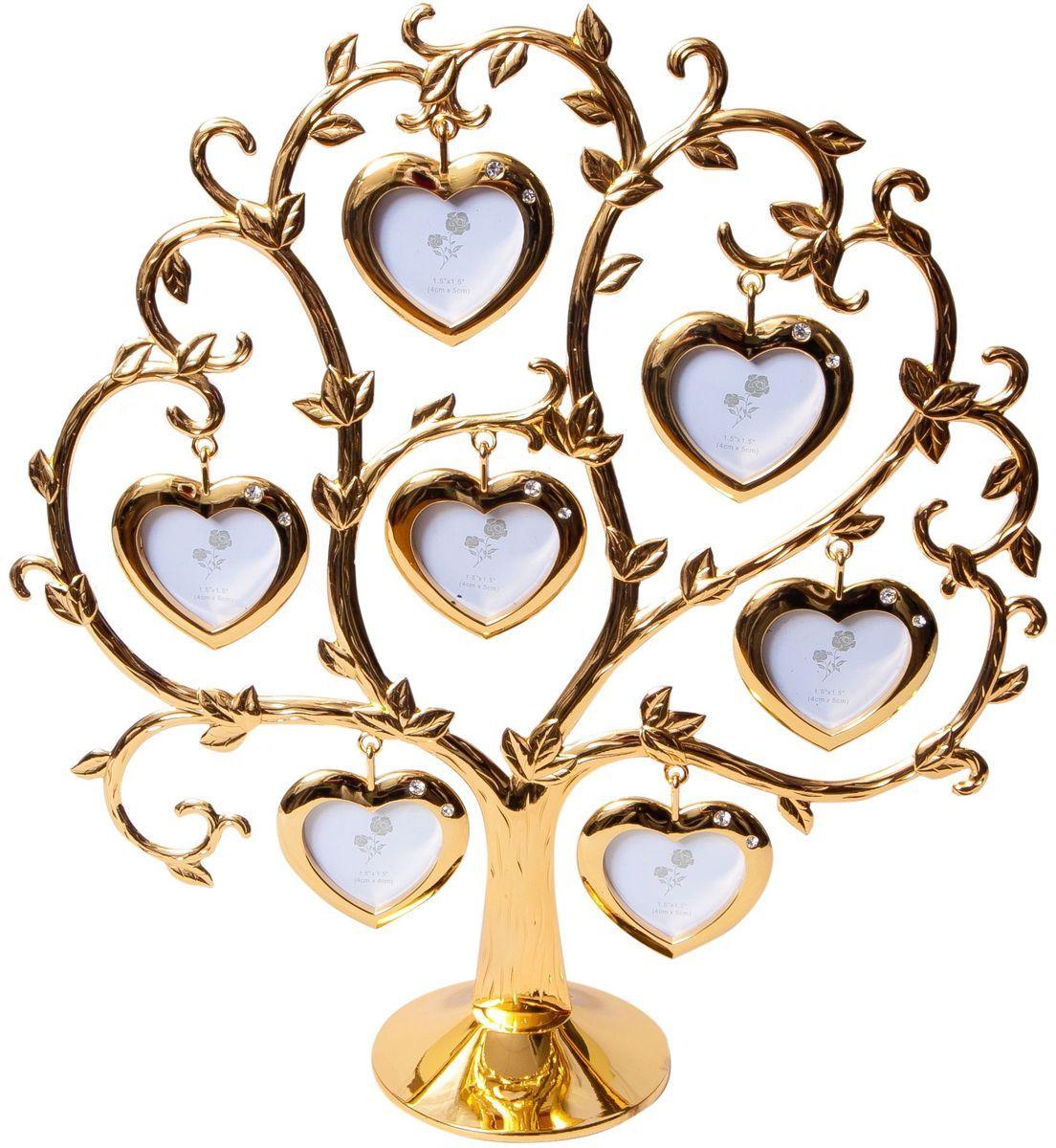 Фоторамка Platinum Дерево. Сердца, цвет: золотистый, на 7 фото, 4 x 4 см. PF9460CSG7 фоторамок на дереве PF9460CSG GOLDДекоративная фоторамка Platinum Дерево. Сердца выполнена из металла. На подставку в виде деревца подвешиваются семь рамочек в форме сердец, украшенных стразами. Изысканная и эффектная, эта потрясающая рамочка покорит своей красотой и изумительным качеством исполнения. Фоторамка Platinum Дерево. Сердца не только украсит интерьер помещения, но и поможет разместить фото всей вашей семьи. Высота фоторамки: 26 см. Фоторамка подходит для фотографий 4 х 4 см. Общий размер фоторамки: 25 х 5 х 26 см.