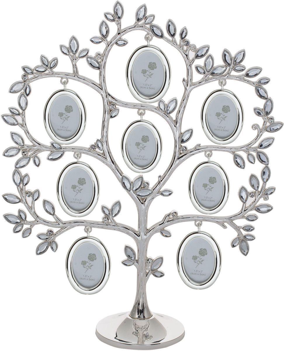 Фоторамка Platinum Дерево, цвет: светло-серый, на 8 фото, 4 х 5 см. PF11054/115048 фоторамок на дереве PF11054/11504Декоративная фоторамка Platinum Дерево выполнена из металла. На подставку в виде деревца подвешиваются восемь овальных рамочек. Листочки дерева декорированы стразами. Изысканная и эффектная, эта потрясающая рамочка покорит своей красотой и изумительным качеством исполнения. Фоторамка Platinum Дерево не только украсит интерьер помещения, но и поможет разместить фото всей вашей семьи. Высота фоторамки: 30 см. Фоторамка подходит для фотографий 4 х 5 см. Общий размер фоторамки: 25,5 х 6 х 30 см.