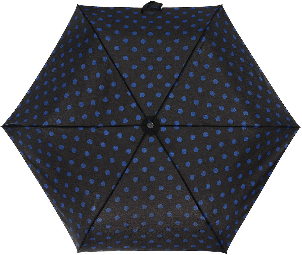Зонт женский Cath Kidston Minilite, механический, 3 сложения, цвет: черный, темно-синий. L768-3067L768-3067 ButtonSpotBlack&InkСтильный механический зонт Cath Kidston Minilite в 3 сложения даже в ненастную погоду позволит вам оставаться элегантной. Облегченный каркас зонта выполнен из 8 спиц из фибергласса и алюминия, стержень также изготовлен из алюминия, удобная рукоятка - из пластика. Купол зонта выполнен из прочного полиэстера. В закрытом виде застегивается хлястиком на липучке. Яркий оригинальный принт в горох поднимет настроение в дождливый день. Зонт механического сложения: купол открывается и закрывается вручную до характерного щелчка. На рукоятке для удобства есть небольшой шнурок, позволяющий надеть зонт на руку тогда, когда это будет необходимо. К зонту прилагается чехол с небольшой нашивкой с названием бренда. Такой зонт компактно располагается в кармане, сумочке, дверке автомобиля.