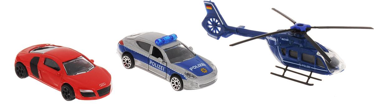 Majorette Набор машинок Полицейская погоня цвет синий серый красный 3 шт
