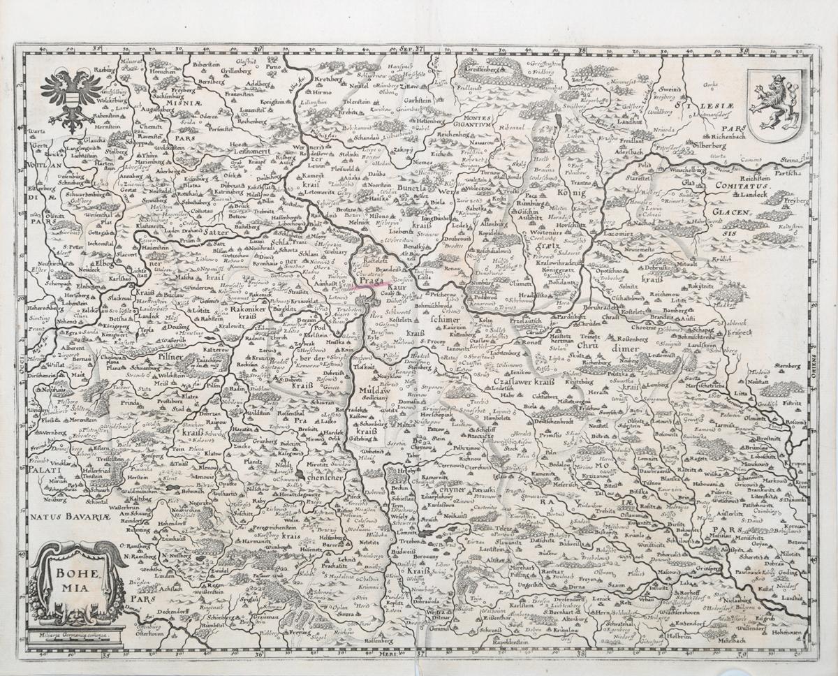 Географическая карта Богемии. Гравюра. Западная Европа, середина XVII века