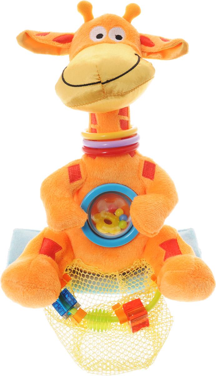 WeeWise Развивающая игрушка для прогулочной коляски Жираф20112Развивающая игрушка WeeWise Жираф легко устанавливается на большинстве прогулочных детских колясок. Внутри игрушки имеется погремушка - это прозрачный круг с пластиковыми элементами в нем. Звук получается негромкий и мелодичный. На шее три ярких кольца из безопасного для ребенка материала. Особенность игрушки заключается в специальном держателе для бутылочек, что позволит всегда иметь под рукой воду, сок или кашу для ребенка. Развивающая игрушка WeeWise Жираф способствует развитию зрительного, слухового и тактильного восприятия ребенка, а также тренирует мелкую моторику.