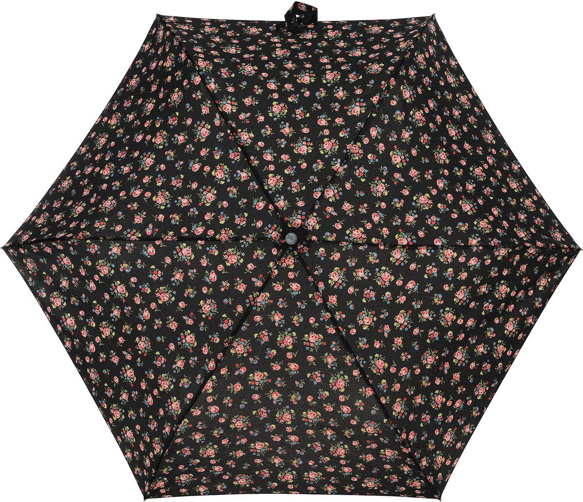 Зонт женский Cath Kidston Minilite, механический, 3 сложения, цвет: черный, мультиколор. L768-2652L768-2652 KewSprigCharcoleСтильный механический зонт Cath Kidston Minilite в 3 сложения даже в ненастную погоду позволит вам оставаться элегантной. Облегченный каркас зонта выполнен из 8 спиц из фибергласса и алюминия, стержень также изготовлен из алюминия, удобная рукоятка - из пластика. Купол зонта выполнен из прочного полиэстера. В закрытом виде застегивается хлястиком на липучке. Яркий оригинальный цветочный принт поднимет настроение в дождливый день. Зонт механического сложения: купол открывается и закрывается вручную до характерного щелчка. На рукоятке для удобства есть небольшой шнурок, позволяющий надеть зонт на руку тогда, когда это будет необходимо. К зонту прилагается чехол с небольшой нашивкой с названием бренда. Oaeie зонт компактно располагается в кармане, сумочке, дверке автомобиля.
