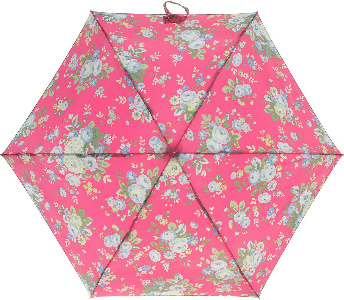 Зонт женский Cath Kidston Tiny, механический, 5 сложений, цвет: розовый, мультиколор. L521-3135L521-3135 TrailingFloralСтильный механический зонт Cath Kidston Tiny в 5 сложений даже в ненастную погоду позволит вам оставаться элегантной. Облегченный каркас зонта выполнен из 6 спиц из фибергласса и алюминия, стержень также изготовлен из алюминия, удобная рукоятка - из дерева. Купол зонта выполнен из прочного полиэстера. В закрытом виде застегивается хлястиком на липучке. Яркий оригинальный цветочный рисунок поднимет настроение в дождливый день. Зонт механического сложения: купол открывается и закрывается вручную до характерного щелчка. На рукоятке для удобства есть небольшой шнурок, позволяющий надеть зонт на руку тогда, когда это будет необходимо. К зонту прилагается чехол с небольшой нашивкой с названием бренда. Такой зонт компактно располагается в кармане, сумочке, дверке автомобиля.