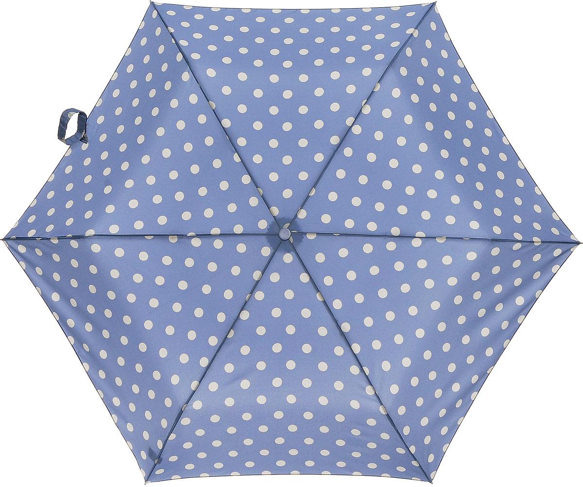 Зонт женский Cath Kidston Minilite, механический, 3 сложения, цвет: голубой, бежевый. L768-3138L768-3138 ButtonSpotDenimСтильный механический зонт Cath Kidston Minilite в 3 сложения даже в ненастную погоду позволит вам оставаться элегантной. Облегченный каркас зонта выполнен из 8 спиц из фибергласса и алюминия, стержень также изготовлен из алюминия, удобная рукоятка - из пластика. Купол зонта выполнен из прочного полиэстера. В закрытом виде застегивается хлястиком на липучке. Яркий оригинальный принт в горох поднимет настроение в дождливый день. Зонт механического сложения: купол открывается и закрывается вручную до характерного щелчка. На рукоятке для удобства есть небольшой шнурок, позволяющий надеть зонт на руку тогда, когда это будет необходимо. К зонту прилагается чехол с небольшой нашивкой с названием бренда. Такой зонт компактно располагается в кармане, сумочке, дверке автомобиля.