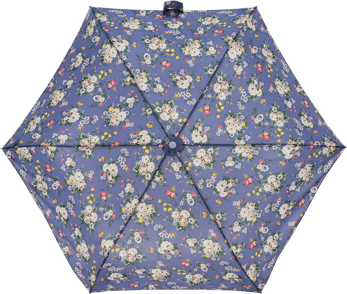 Зонт женский Cath Kidston Minilite, механический, 3 сложения, цвет: сине-фиолетовый, мультиколор. L768-3068L768-3068 SprayFlowersBlueСтильный механический зонт Cath Kidston Minilite в 3 сложения даже в ненастную погоду позволит вам оставаться элегантной. Облегченный каркас зонта выполнен из 8 спиц из фибергласса и алюминия, стержень также изготовлен из алюминия, удобная рукоятка - из пластика. Купол зонта выполнен из прочного полиэстера. В закрытом виде застегивается хлястиком на липучке. Яркий оригинальный цветочный принт поднимет настроение в дождливый день. Зонт механического сложения: купол открывается и закрывается вручную до характерного щелчка. На рукоятке для удобства есть небольшой шнурок, позволяющий надеть зонт на руку тогда, когда это будет необходимо. К зонту прилагается чехол с небольшой нашивкой с названием бренда. Такой зонт компактно располагается в кармане, сумочке, дверке автомобиля.