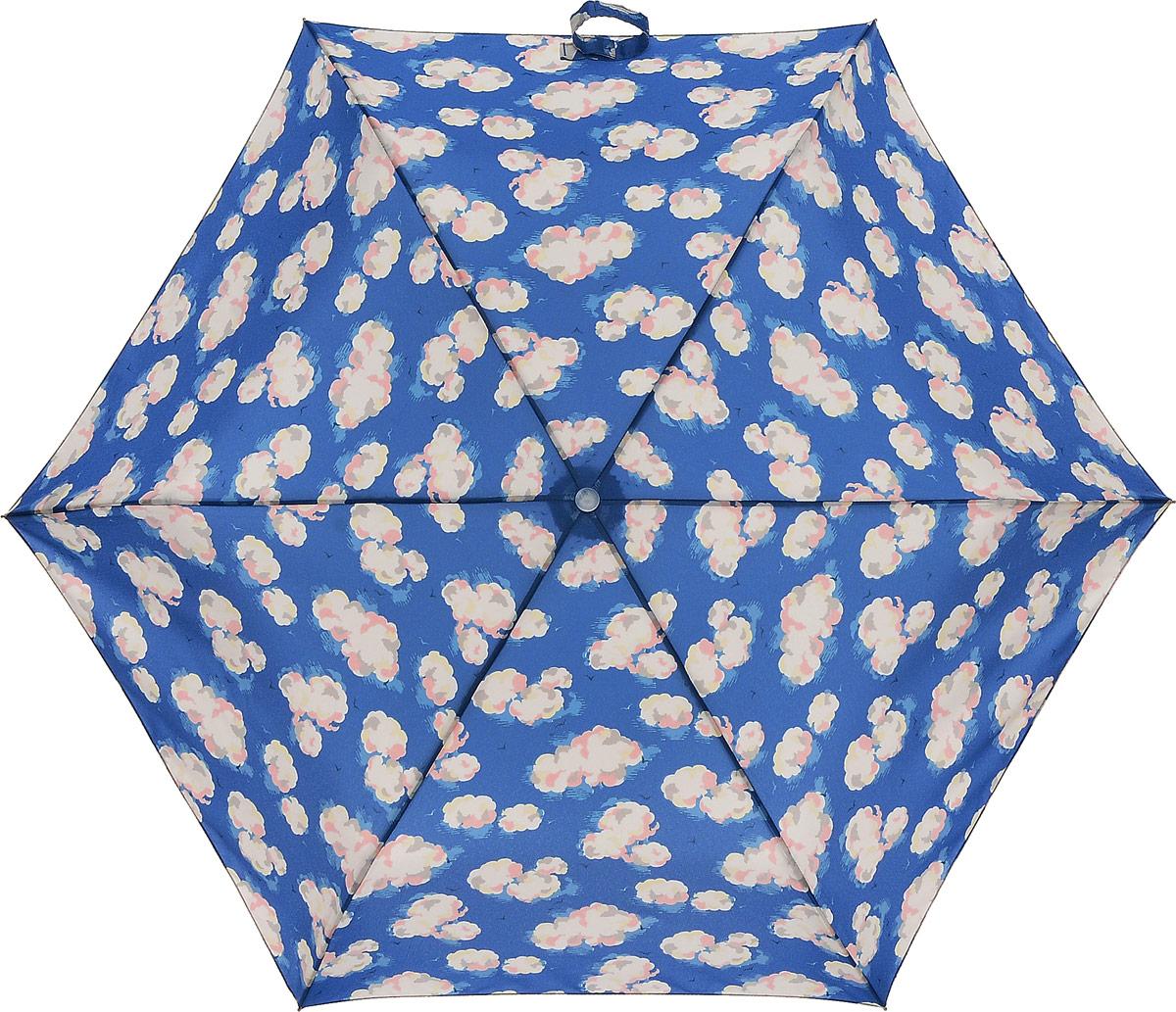 Зонт женский Cath Kidston Minilite, механический, 3 сложения, цвет: синий, мультиколор. L768-2949L768-2949 MiniCloudsСтильный механический зонт Cath Kidston Minilite в 3 сложения даже в ненастную погоду позволит вам оставаться элегантной. Каркас зонта выполнен из 8 спиц из фибергласса и алюминия, стержень также изготовлен из алюминия, удобная рукоятка - из пластика. Купол зонта выполнен из прочного полиэстера. В закрытом виде застегивается хлястиком на липучке. Яркий оригинальный рисунок в виде облаков поднимет настроение в дождливый день. Зонт механического сложения: купол открывается и закрывается вручную до характерного щелчка. На рукоятке для удобства есть небольшой шнурок, позволяющий надеть зонт на руку тогда, когда это будет необходимо. К зонту прилагается чехол, который оформлен нашивкой с названием бренда. Такой зонт компактно располагается в кармане, сумочке, дверке автомобиля.