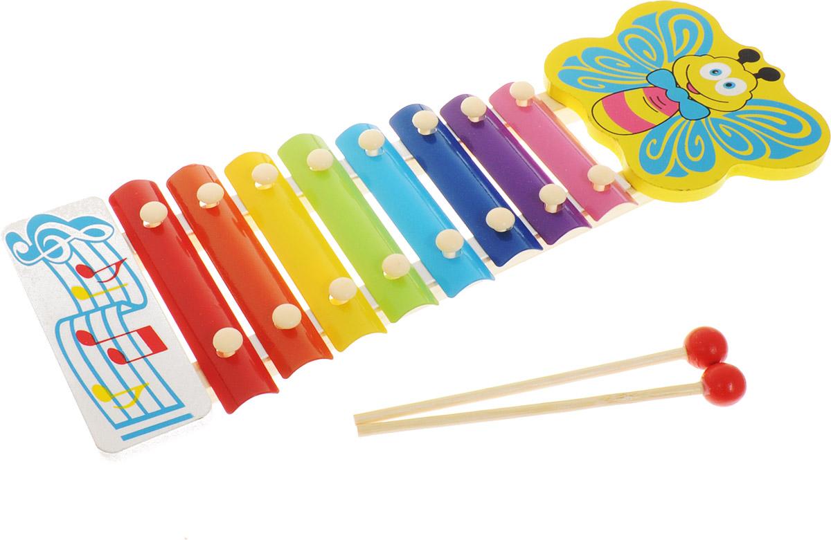 ABtoys Ксилофон БабочкаD-00043_бабочкаЯркий ксилофон ABtoys Бабочка представляет собой деревянную дощечку, на которой закреплены восемь различных по величине и цвету металлических клавиш, настроенных на восемь определенных ладов. Малыш сможет играть на ксилофоне с помощью двух деревянных молоточков, наслаждаясь чистыми и яркими звуками. Ксилофон оформлен изображением бабочки. Ксилофон ABtoys поможет развить звуковое и цветовое восприятия, концентрацию внимания и мелкую моторику рук ребенка, а также чувство ритма.