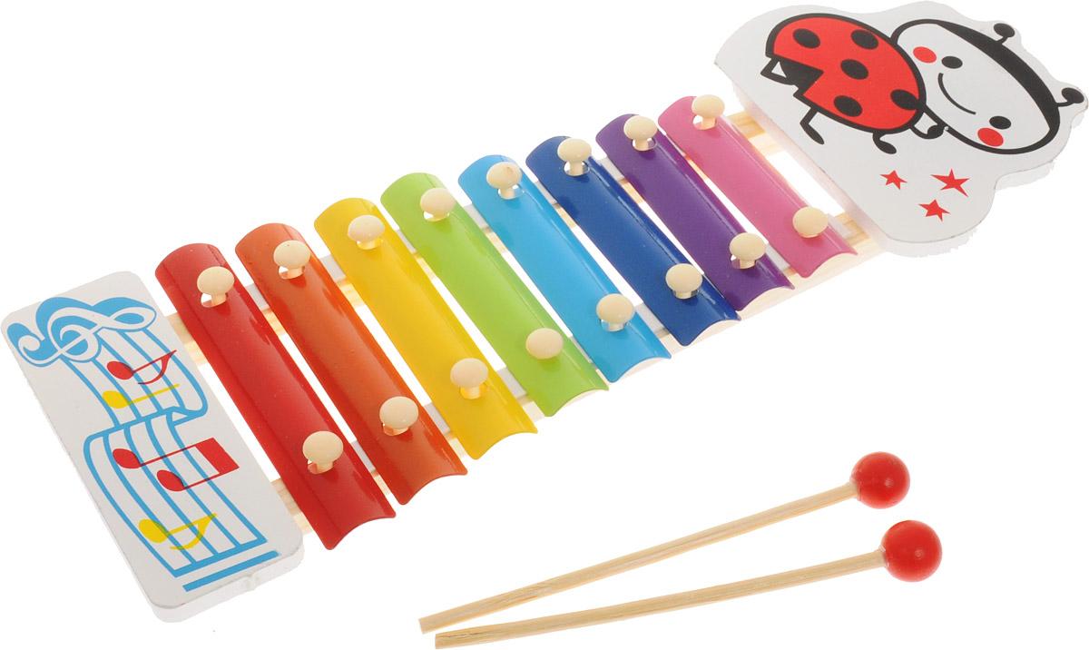 ABtoys Ксилофон Божья коровкаD-00043_божья коровкаКсилофон ABtoys Божья коровка непременно порадует маленького музыканта. Инструмент создан из современных и экологически безопасных материалов. Игрушка имеет яркий цвет и обязательно привлечет внимание малыша. Ксилофон украшен изображением божьей коровки и имеет восемь разноцветных клавиш. Палочки-молоточки позволят вашему ребенку сочинять различные мелодии. Игрушка поможет вашему ребенку развить мелкую моторику, музыкальный слух, воображение и цветовое восприятие.