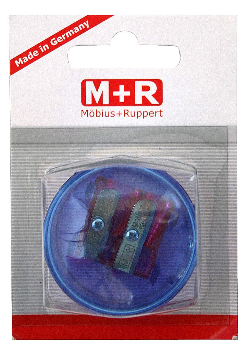 M+R Точилка Top Duo цвет синий фиолетовый0344-0002, 03440002Точилка M+R Top Duo выполнена из прочного пластика. В точилке имеются два отверстия для карандашей разного диаметра. Точилка подходит для различных видов карандашей. При повороте пластикового контейнера, отверстия закрываются. Полупрозрачный контейнер для сбора стружки позволяет визуально контролировать уровень заполнения и вовремя производить очистку.