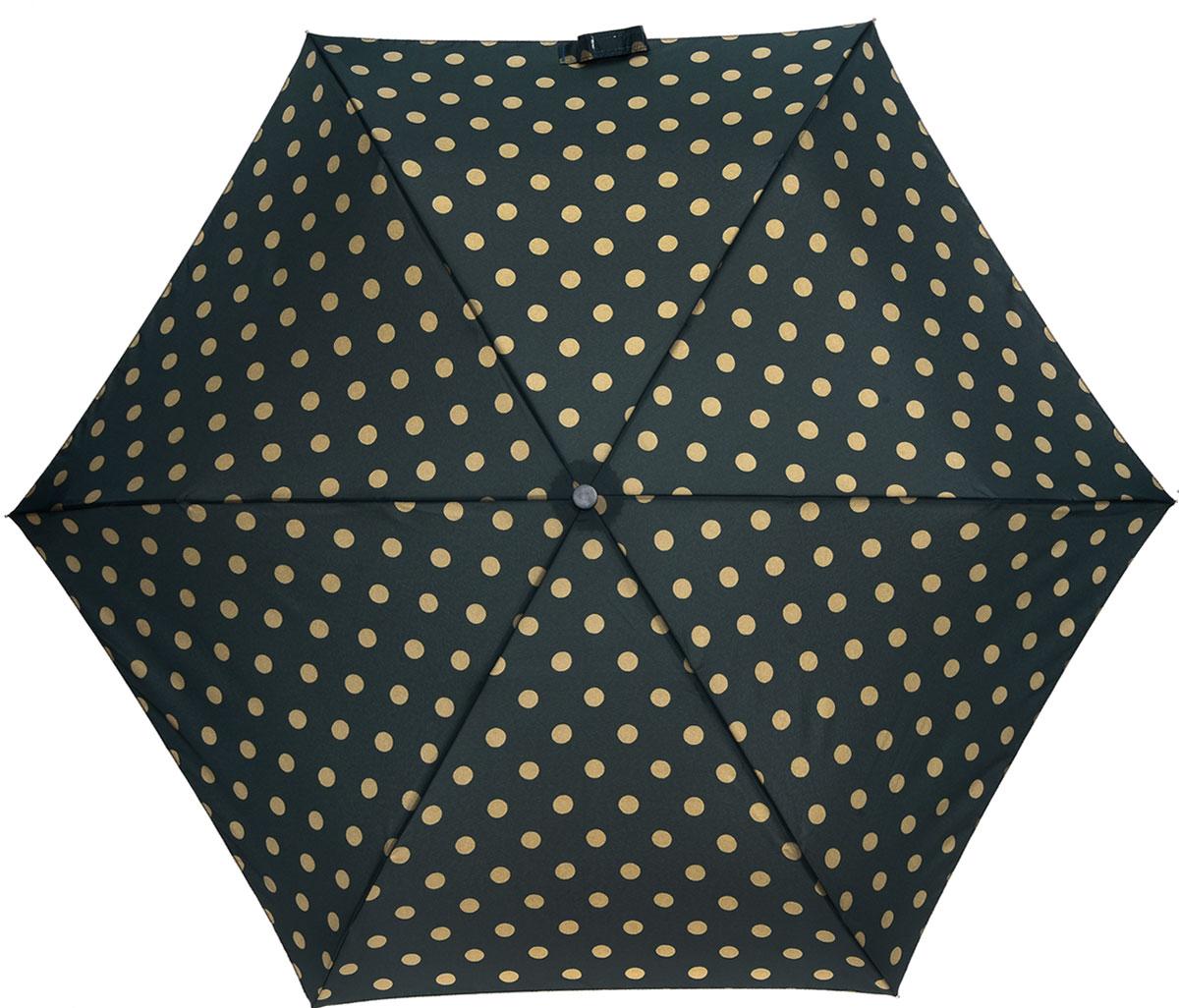 Зонт женский Cath Kidston Minilite, механический, 3 сложения, цвет: темно-зеленый, бежевый. L768-2850L768-2850 ButtonSpotForestСтильный механический зонт Cath Kidston Minilite в 3 сложения даже в ненастную погоду позволит вам оставаться элегантной. Облегченный каркас зонта выполнен из 8 спиц из фибергласса и алюминия, стержень также изготовлен из алюминия, удобная рукоятка - из пластика. Купол зонта выполнен из прочного полиэстера. В закрытом виде застегивается хлястиком на липучке. Яркий оригинальный принт в горох поднимет настроение в дождливый день. Зонт механического сложения: купол открывается и закрывается вручную до характерного щелчка. На рукоятке для удобства есть небольшой шнурок, позволяющий надеть зонт на руку тогда, когда это будет необходимо. К зонту прилагается чехол с небольшой нашивкой с названием бренда. Такой зонт компактно располагается в кармане, сумочке, дверке автомобиля.