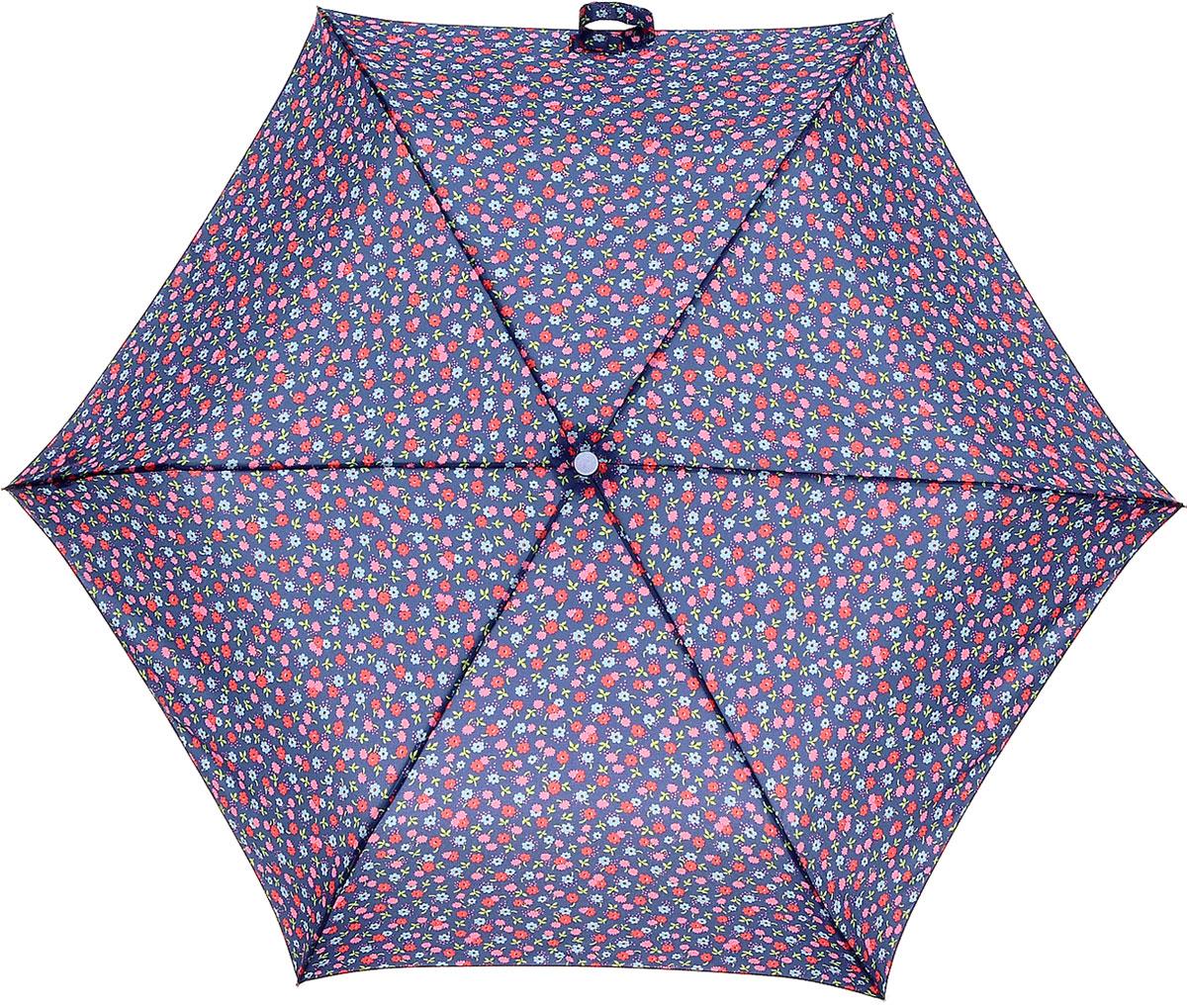 Зонт женский Cath Kidston Minilite, механический, 3 сложения, цвет: фиолетовый, мультиколор. L768-2945L768-2945 RiverDaisyСтильный механический зонт Cath Kidston Minilite в 3 сложения даже в ненастную погоду позволит вам оставаться элегантной. Облегченный каркас зонта выполнен из 8 спиц из фибергласса и алюминия, стержень также изготовлен из алюминия, удобная рукоятка - из пластика. Купол зонта выполнен из прочного полиэстера. В закрытом виде застегивается хлястиком на липучке. Яркий оригинальный цветочный принт поднимет настроение в дождливый день. Зонт механического сложения: купол открывается и закрывается вручную до характерного щелчка. На рукоятке для удобства есть небольшой шнурок, позволяющий надеть зонт на руку тогда, когда это будет необходимо. К зонту прилагается чехол с небольшой нашивкой с названием бренда. Такой зонт компактно располагается в кармане, сумочке, дверке автомобиля.