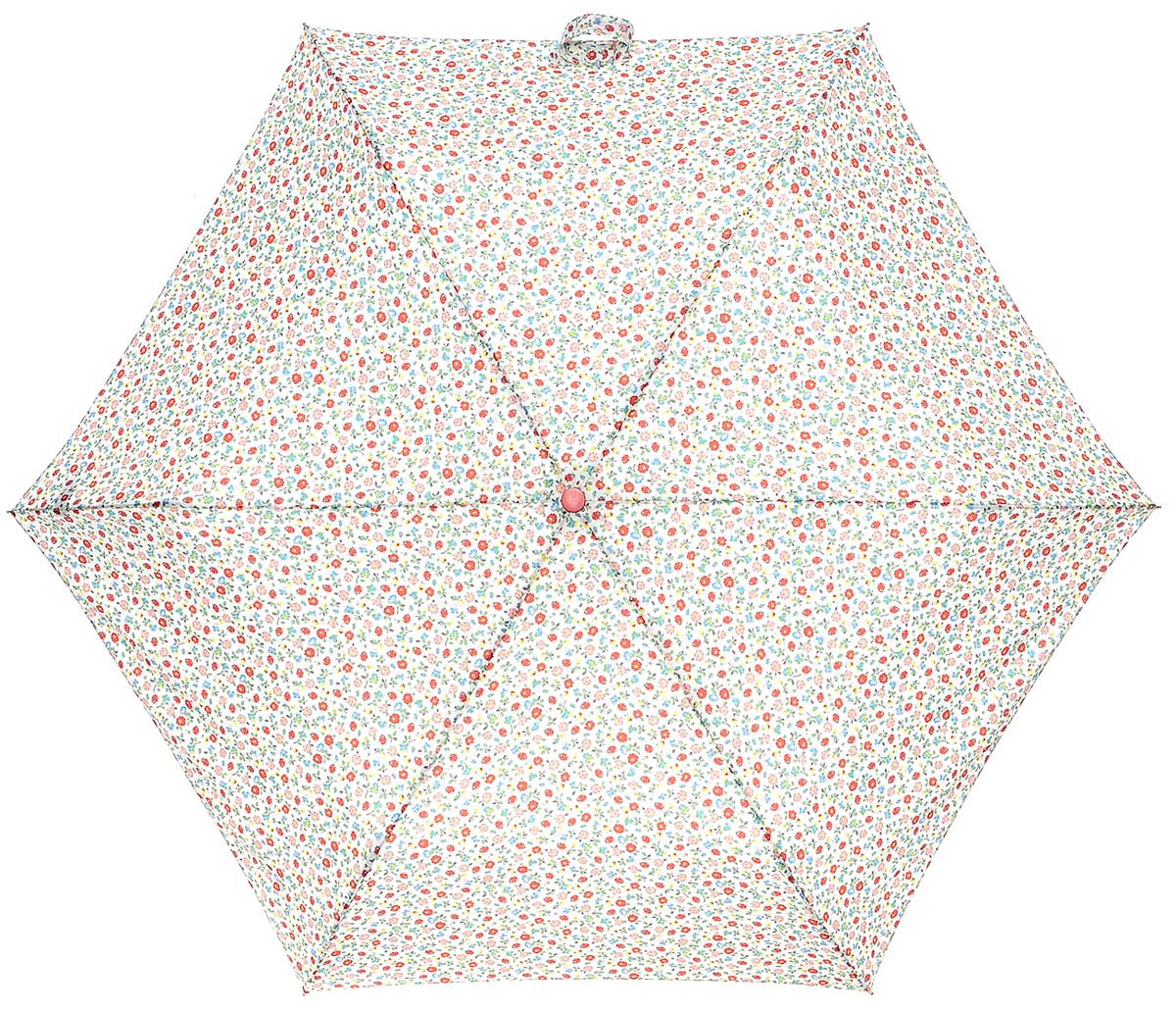 Зонт женский Cath Kidston Minilite, механический, 3 сложения, цвет: белый, мультиколор. L768-3136L768-3136 LadyBirdDitsyСтильный механический зонт Cath Kidston Minilite в 3 сложения даже в ненастную погоду позволит вам оставаться элегантной. Облегченный каркас зонта выполнен из 8 спиц из фибергласса и алюминия, стержень также изготовлен из алюминия, удобная рукоятка - из пластика. Купол зонта выполнен из прочного полиэстера. В закрытом виде застегивается хлястиком на липучке. Яркий оригинальный цветочный принт поднимет настроение в дождливый день. Зонт механического сложения: купол открывается и закрывается вручную до характерного щелчка. На рукоятке для удобства есть небольшой шнурок, позволяющий надеть зонт на руку тогда, когда это будет необходимо. К зонту прилагается чехол с небольшой нашивкой с названием бренда. Такой зонт компактно располагается в кармане, сумочке, дверке автомобиля.