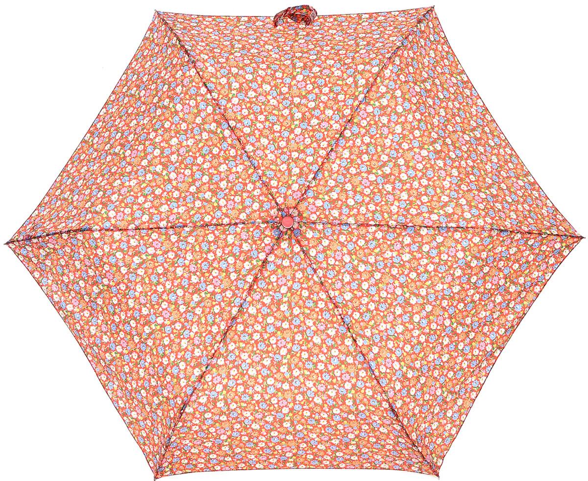 Зонт женский Cath Kidston Minilite, механический, 3 сложения, цвет: коралловый, мультиколор. L768-3140L768-3140 MeadowDitsyСтильный механический зонт Cath Kidston Minilite в 3 сложения даже в ненастную погоду позволит вам оставаться элегантной. Облегченный каркас зонта выполнен из 8 спиц из фибергласса и алюминия, стержень также изготовлен из алюминия, удобная рукоятка - из пластика с каучуковым покрытием. Купол зонта выполнен из прочного полиэстера и оформлен мелким цветочным принтом. В закрытом виде застегивается хлястиком на липучку. Зонт механического сложения: купол открывается и закрывается вручную до характерного щелчка. На рукоятке для удобства есть небольшой шнурок, позволяющий при необходимости надеть зонт на руку. К зонту прилагается чехол. Такой зонт компактно располагается в глубоком кармане, сумочке, дверке автомобиля.