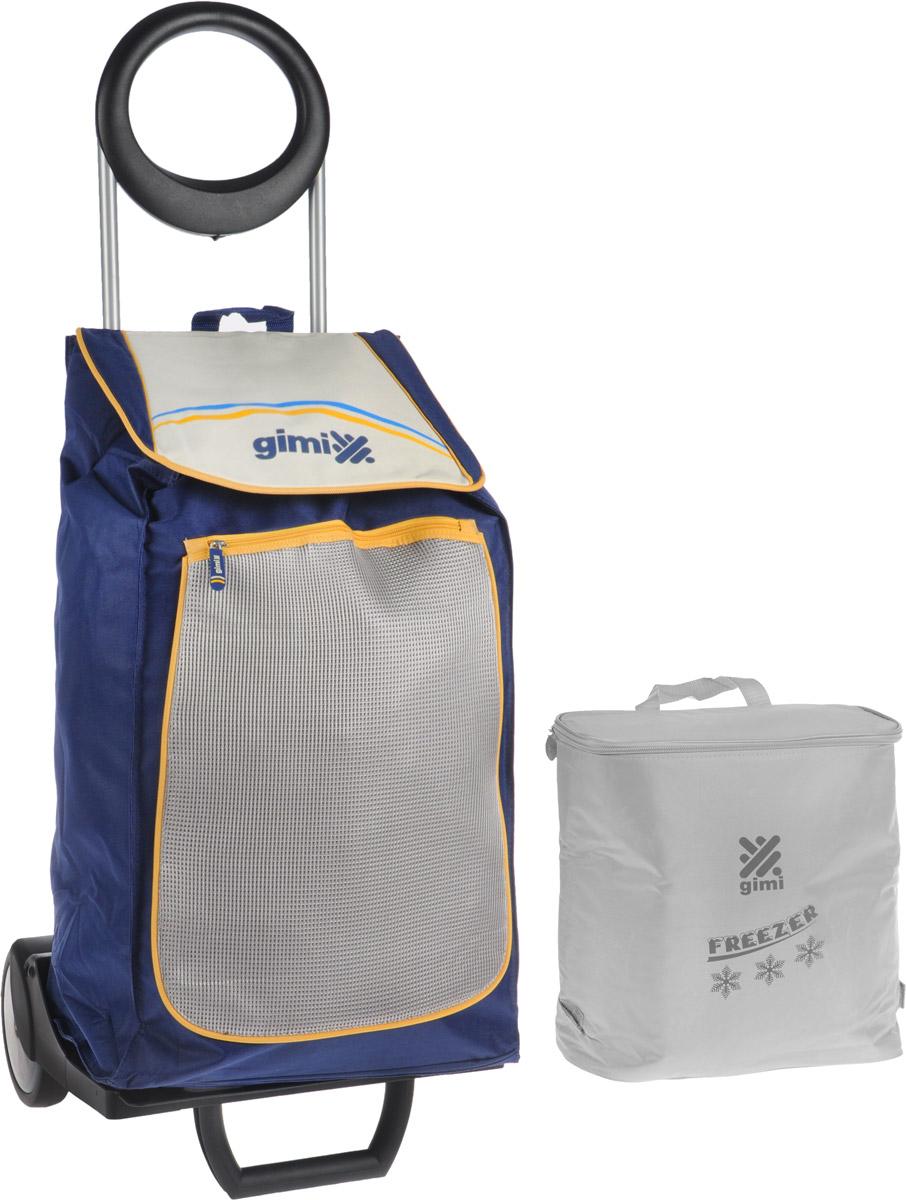 Сумка-тележка Gimi Family, цвет: синий, серый, 48 л1579584704113Хозяйственная сумка-тележка Gimi Family выполнена из высококачественного полиэстера со стальным каркасом. Она оснащена одним вместительным отделением, закрывающимся на липучки. Снаружи имеются карман на застежке-молнии и подставка для зонтика. Сумка водоустойчива, оснащена парой колес, которые обеспечивают удобство транспортировки. Без сумки изделие превращается в универсальную тележку с крючками для фиксации ящиков. В комплект входит термосумка вместимостью 10 литров. Максимальная нагрузка: 30 кг.